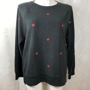 Victoria secret pink sweater embroidered size L